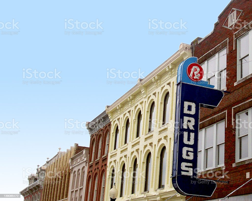 Retro style American drug store sign on vintage buildings stock photo