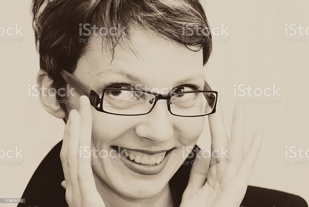 retro style, beautiful girl with glasses looks up stock photo