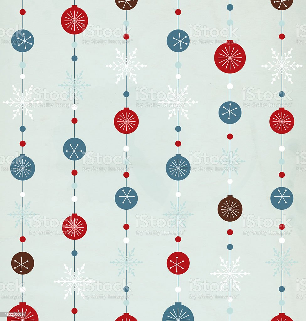 Retro style Christmas ornament background in blue and red stock photo