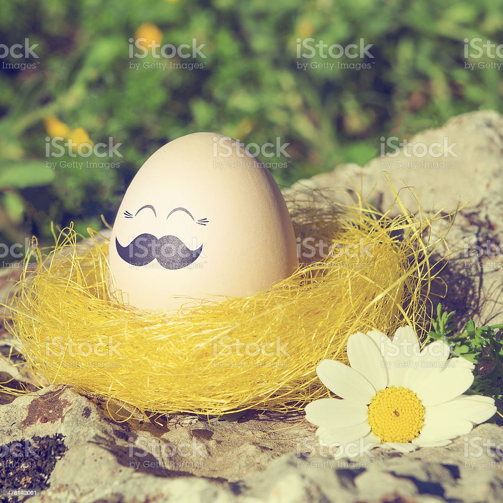 Retro style Easter egg with mustache royalty-free stock photo