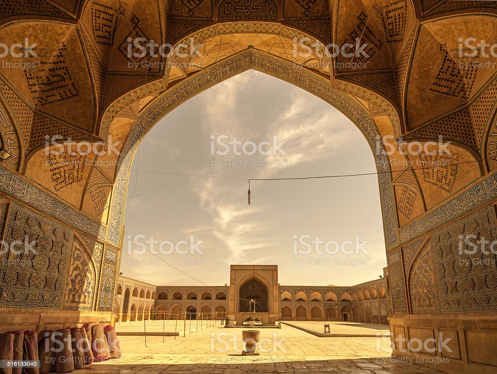 Retro style image of Jameh or Friday Mosque, Isfahan, Iran stock photo