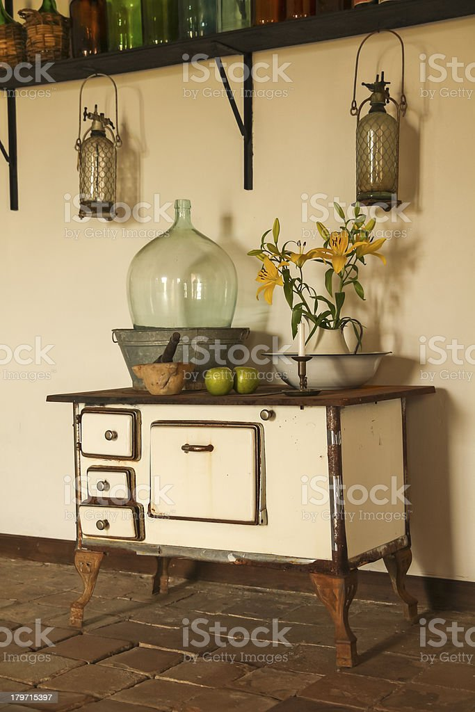 Retro style kitchen white counter with asymmetric drawers stock photo