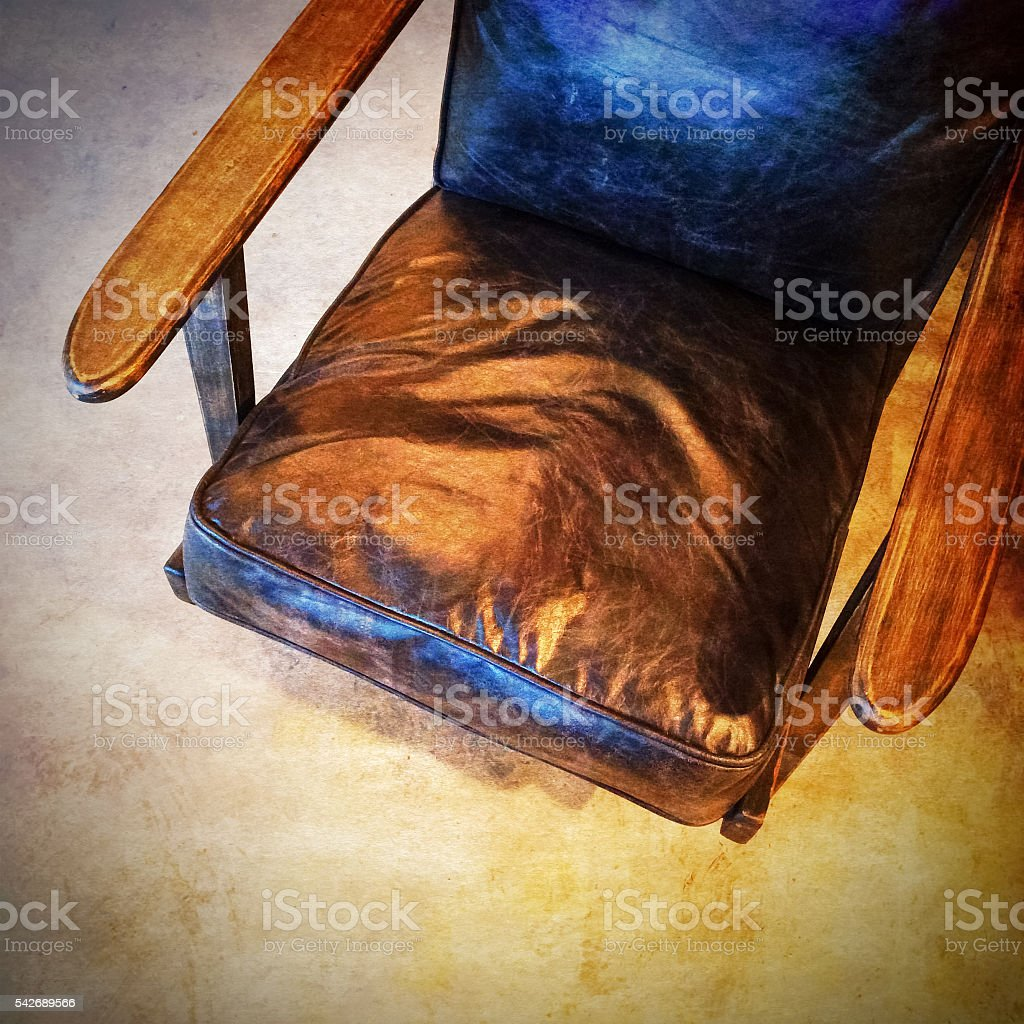 Retro style leather armchair stock photo