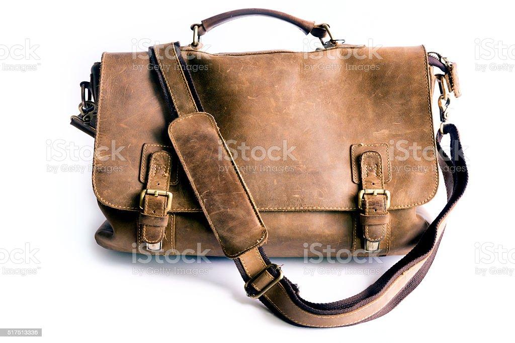 Retro Style Leather Bag with Biometric American Passport stock photo
