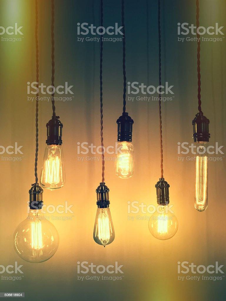 Retro style light bulbs stock photo