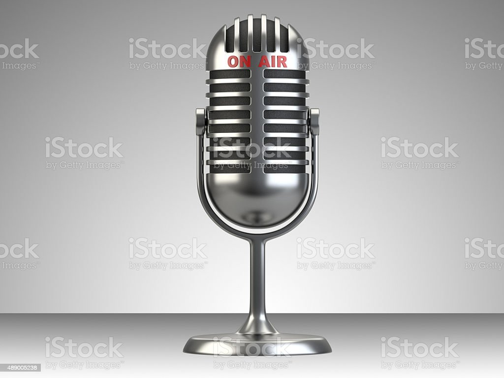 Retro style microphone with 'on air' sign stock photo