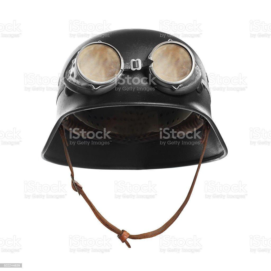 Retro style motorcycle helmet. stock photo
