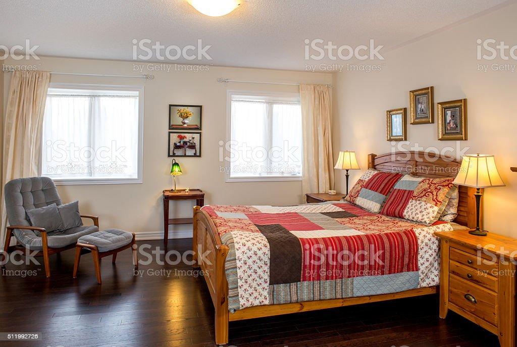 Retro style new bedroom stock photo