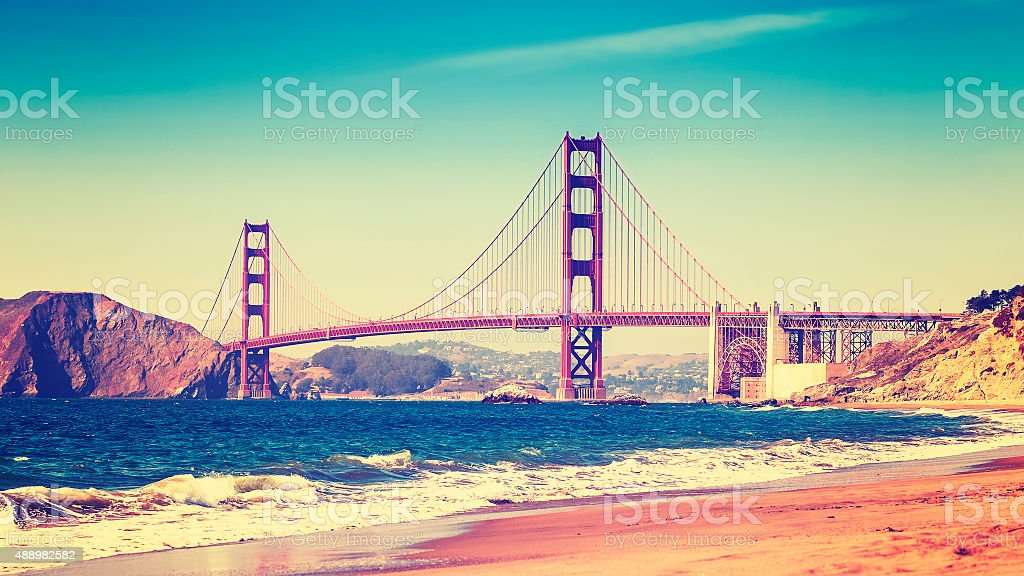 Retro style photo of Golden Gate Bridge, San Francisco. stock photo