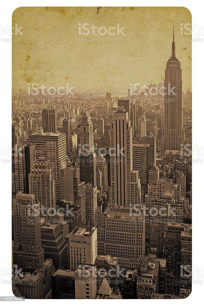 Retro style postcard of the Manhattan skyline royalty-free stock photo