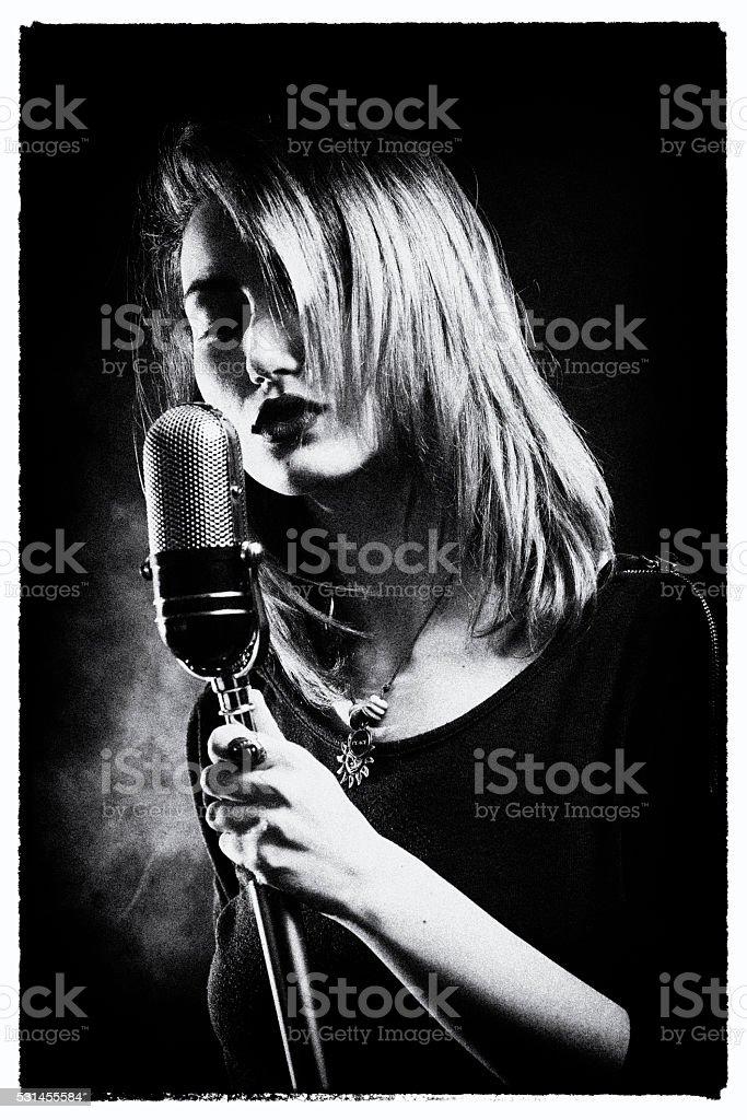 Retro style singer stock photo