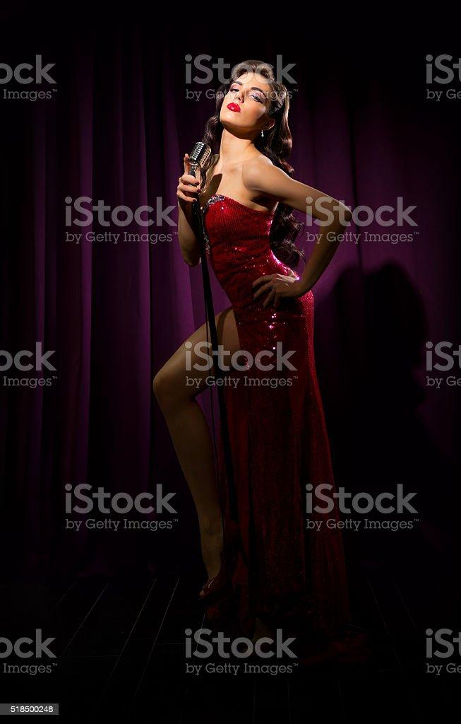 Retro style woman singer stock photo