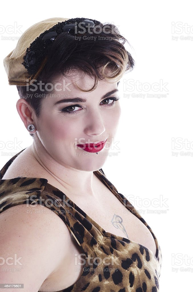 Retro styled beauty trying not to laugh. royalty-free stock photo