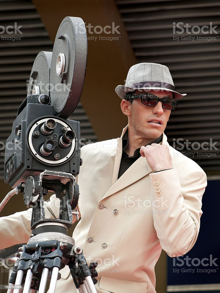 Retro styled Camera Man on the Red Carpet royalty-free stock photo