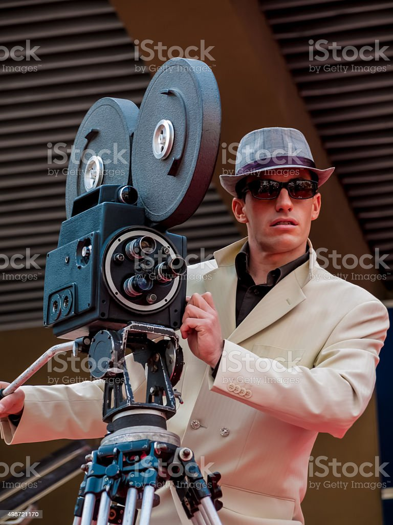 Retro styled Camera Man on the Red Carpet stock photo