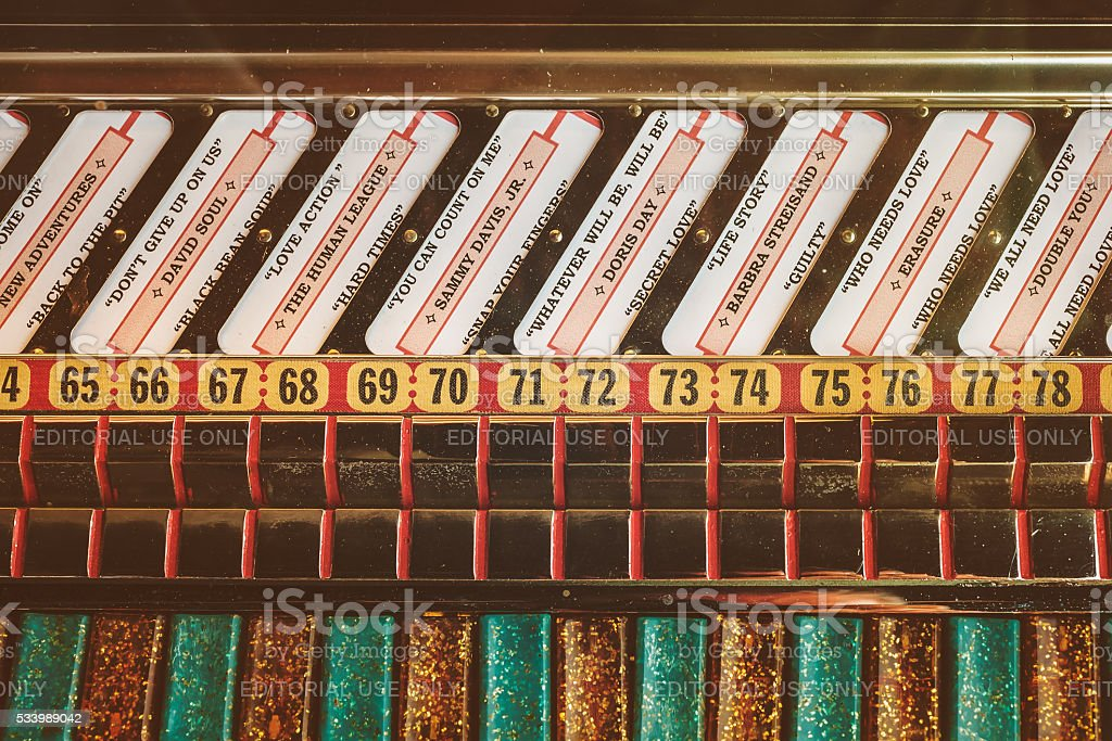 Retro styled close up of an old jukebox stock photo