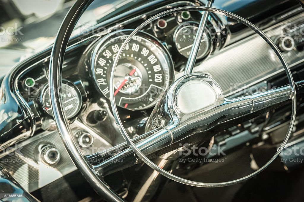 retro styled dashboard stock photo