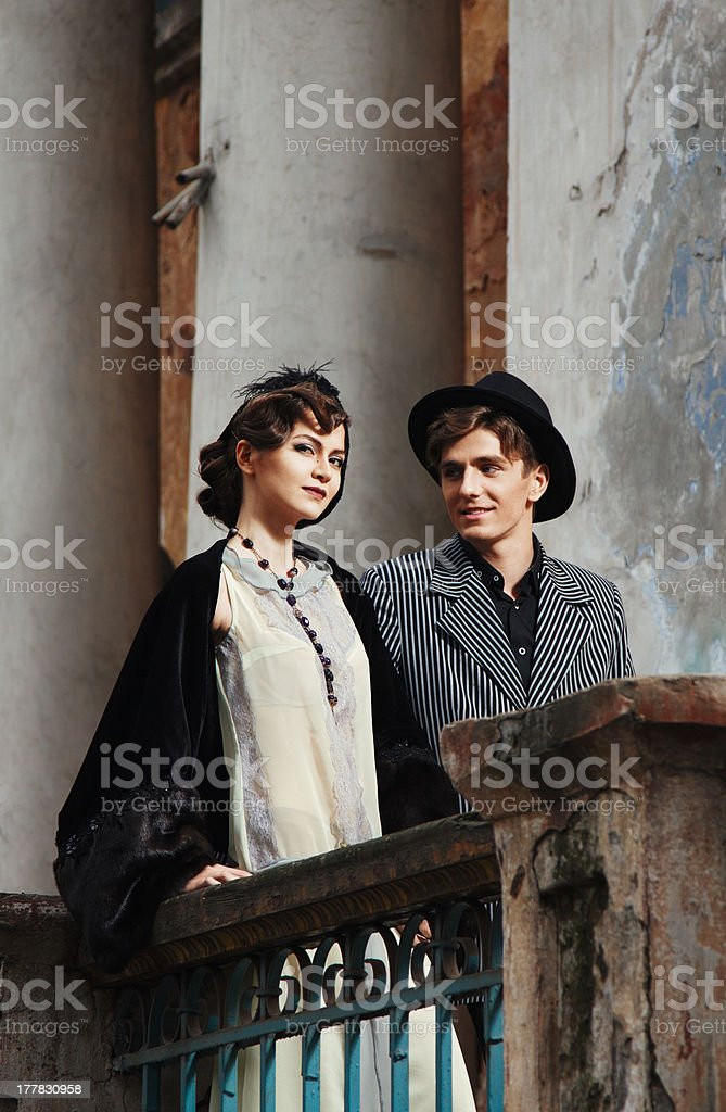 Retro styled fashion portrait of a young couple. royalty-free stock photo