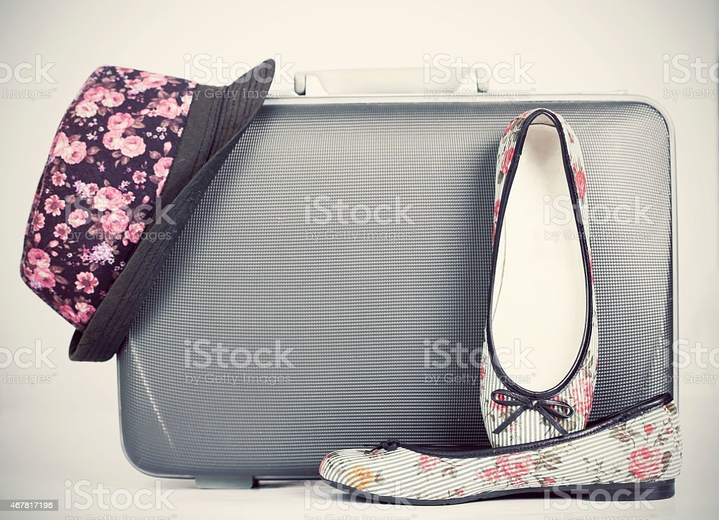 Retro styled hat, shoes and baggage stock photo