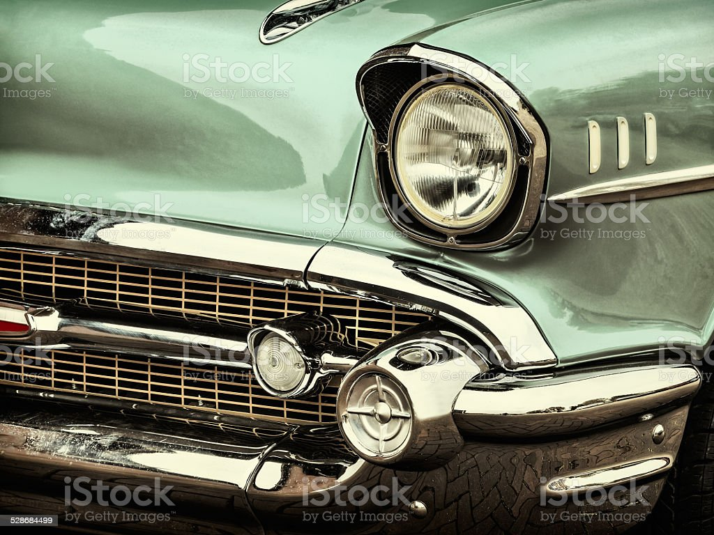 Retro styled image of a front of a classic car stock photo