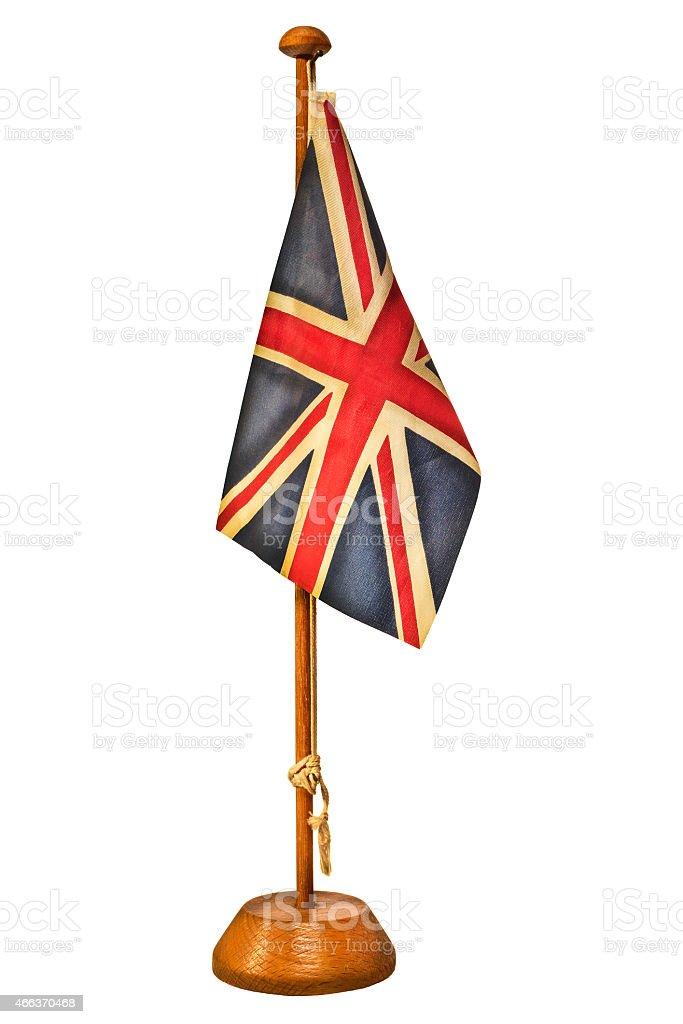 Retro styled image of a small English flag stock photo