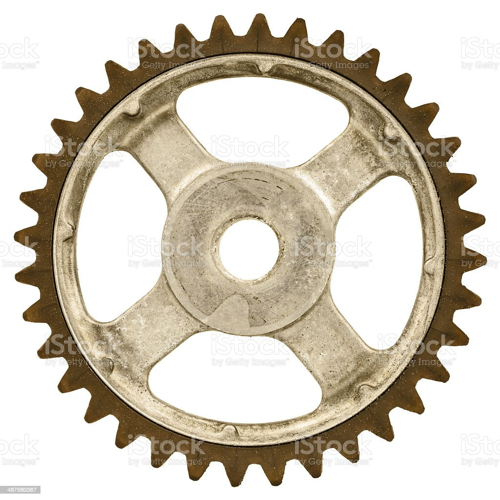 Retro styled image of an old gear wheel stock photo