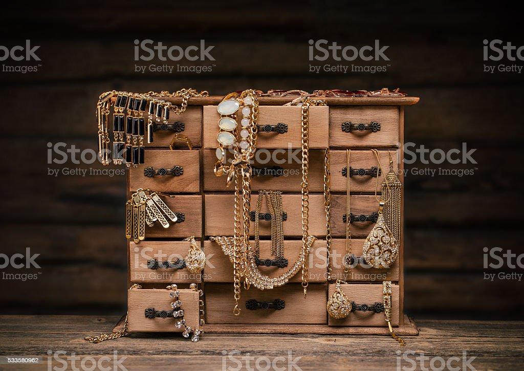 Retro styled jewel box stock photo