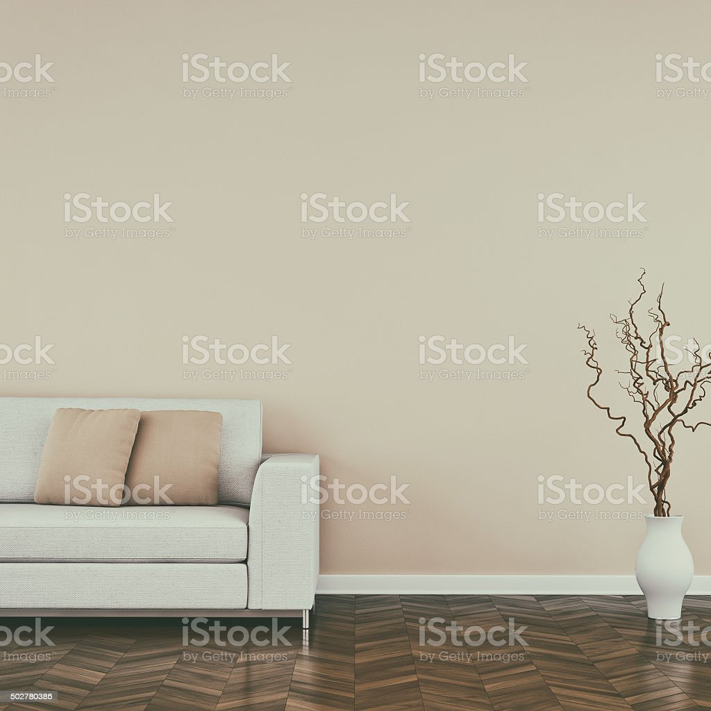 Retro styled modern living room with sofa stock photo