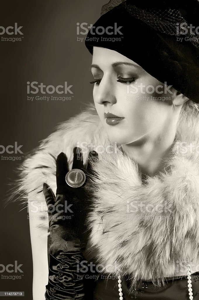 Retro styled portrait of a young woman royalty-free stock photo