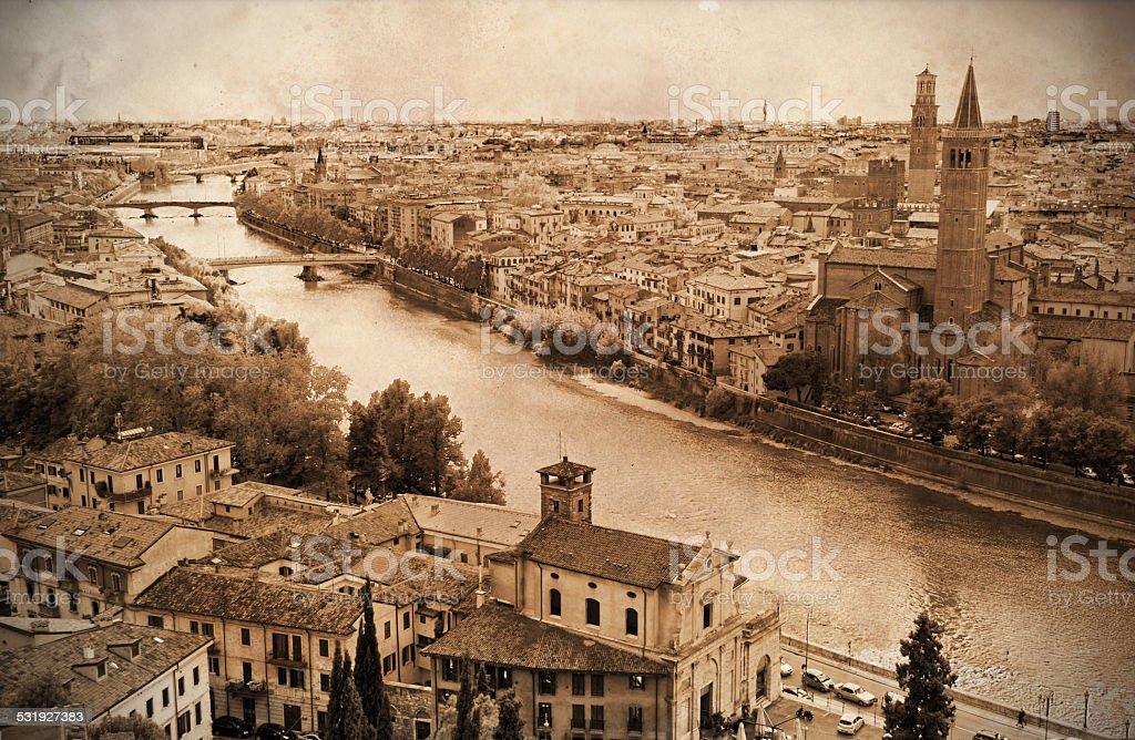 Retro styled view of Verona, Italy stock photo