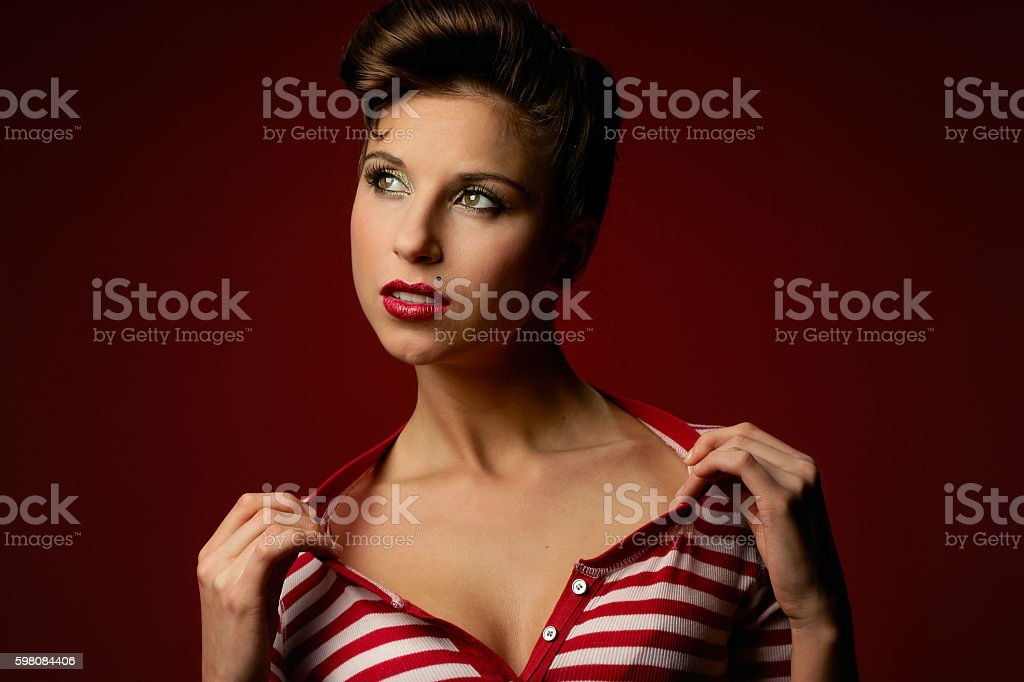 Retro Styled Woman with Red stripped Blouse stock photo