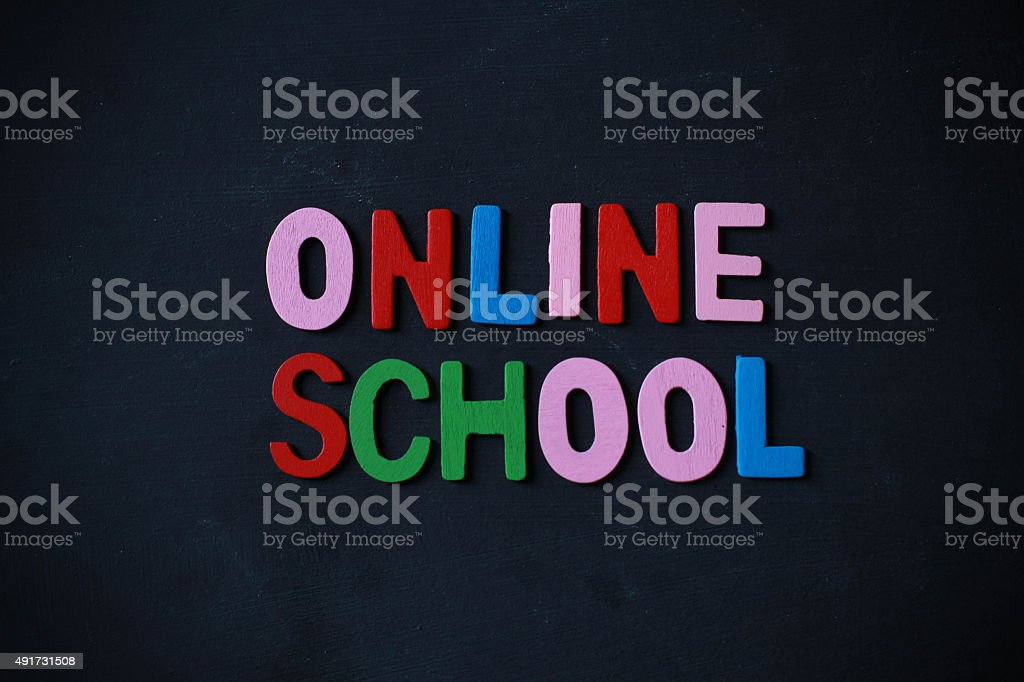 Retro styled words written online school with colorful alphabets stock photo
