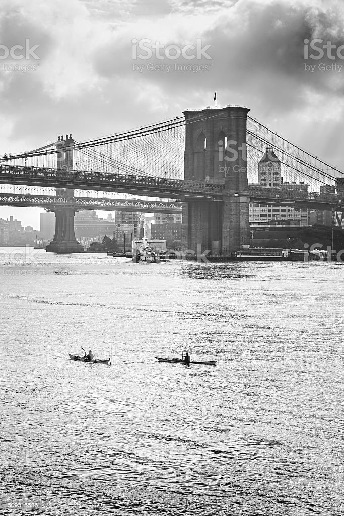 Retro stylized photo of Hudson River in New York, USA stock photo