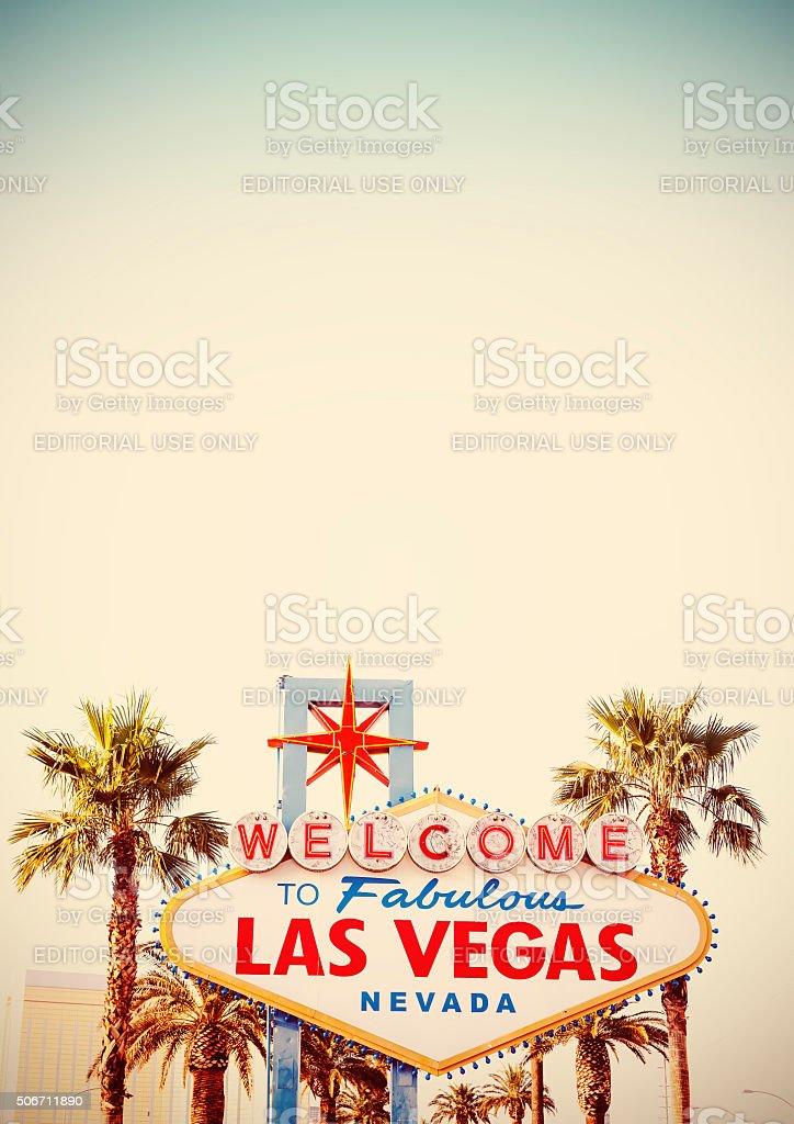 Retro stylized Welcome To Las Vegas Sign. stock photo
