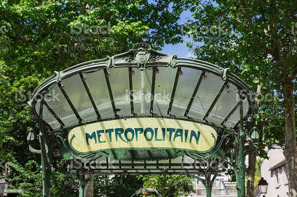 Retro subway sign. Abbesses subway station, Paris, France stock photo