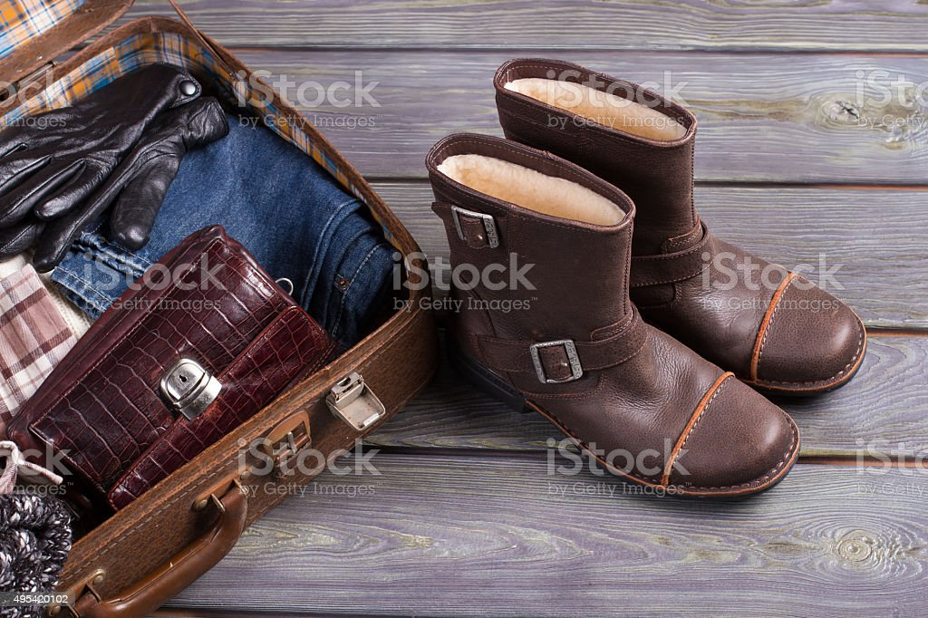 Retro suitcase and shoes. stock photo