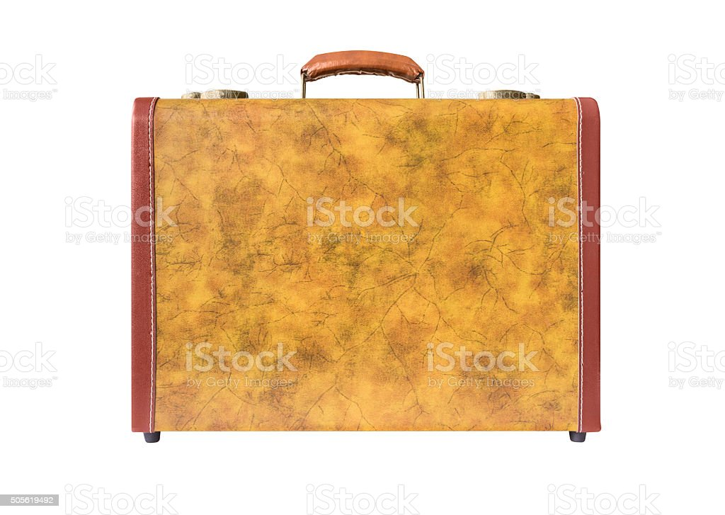 Retro suitcase of genuine leather stock photo