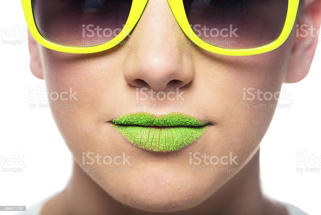 Retro sunglasses and lips royalty-free stock photo