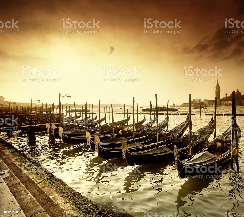 Retro sunrise at Piazza San Marco in Venice royalty-free stock photo