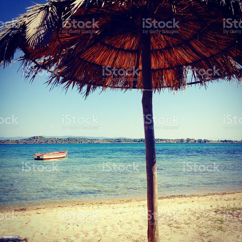 Retro sunshade beach royalty-free stock photo