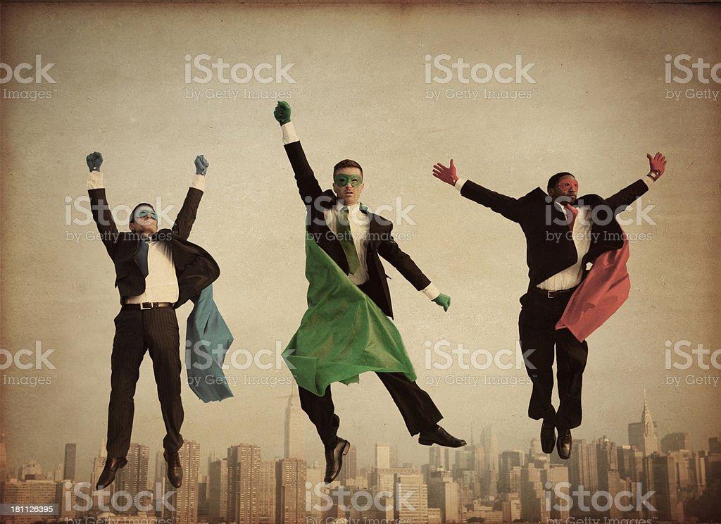Retro Superheroes Businessmen royalty-free stock photo