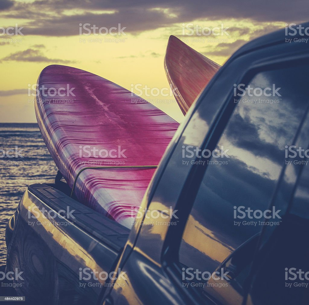 Retro Surf Boards In Truck stock photo