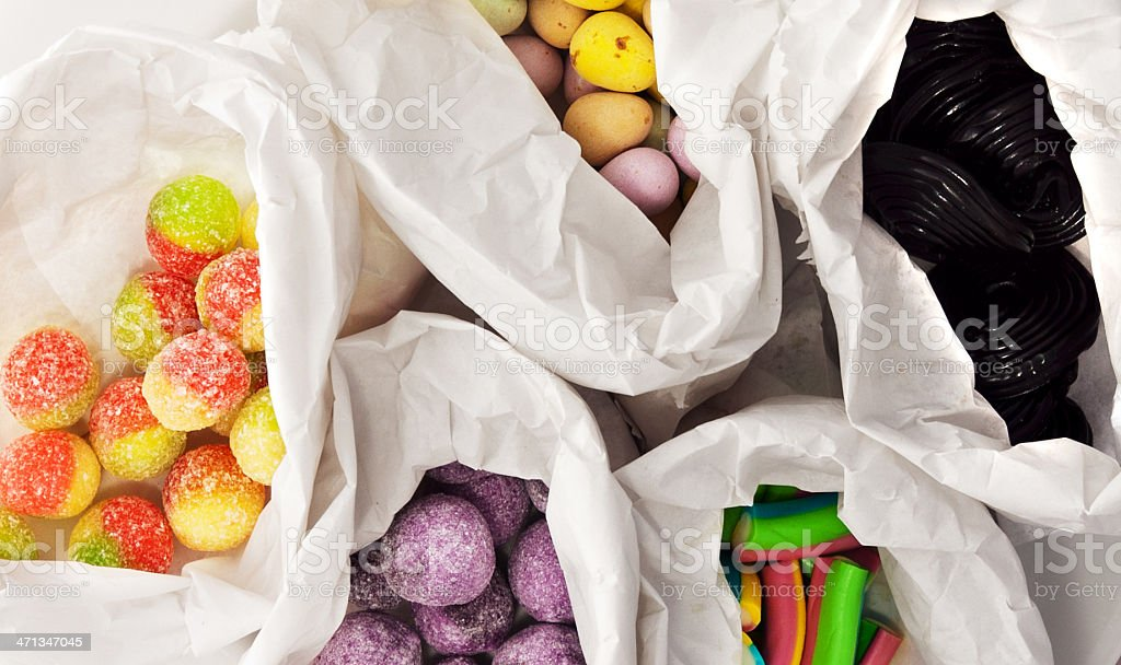 Retro sweets/candies in paper bags stock photo