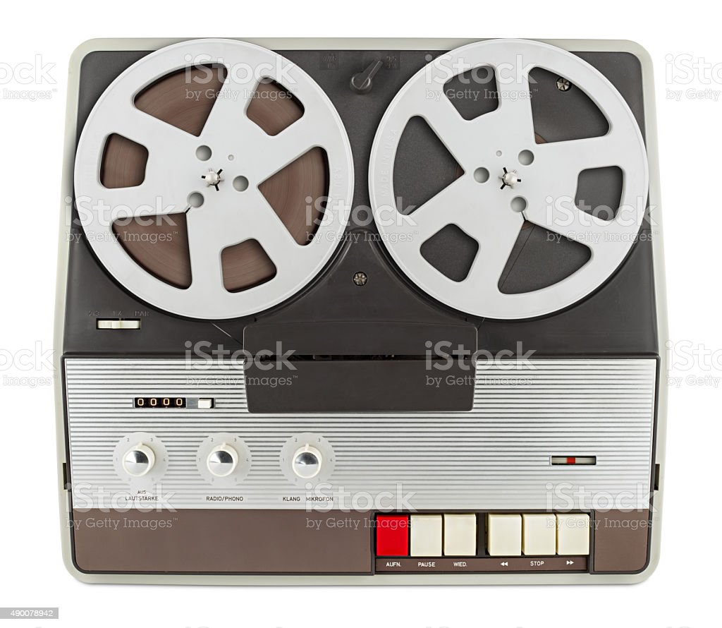 retro tape recorder isolated on white background stock photo