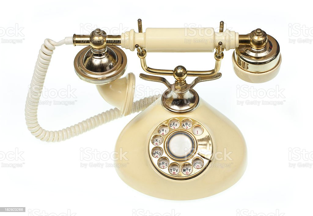 Retro telephone isolated on white stock photo