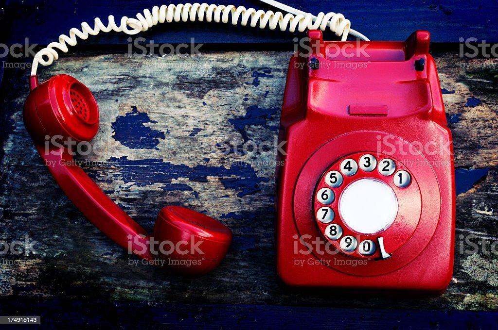 retro telephone off the hook, grunge background royalty-free stock photo