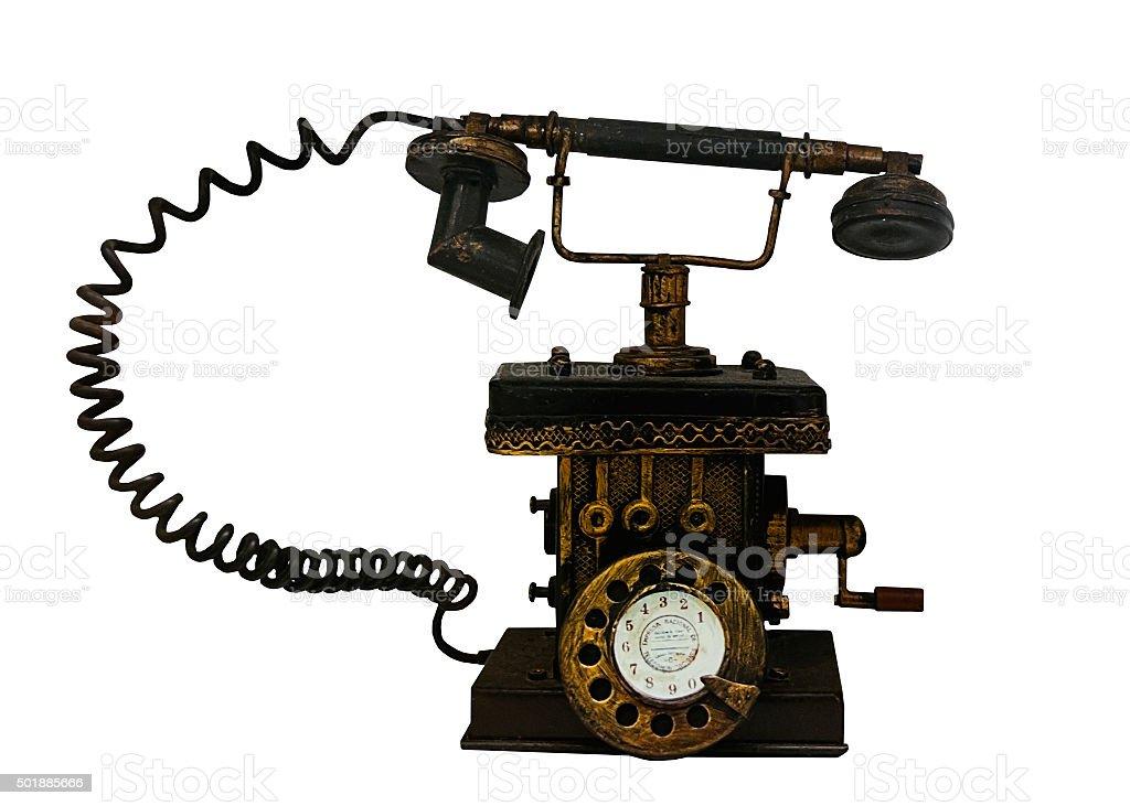 Retro telephone on white background stock photo