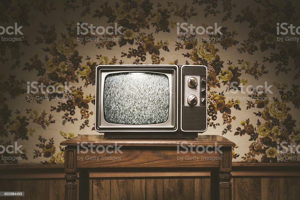 Retro Television and Wallpaper stock photo