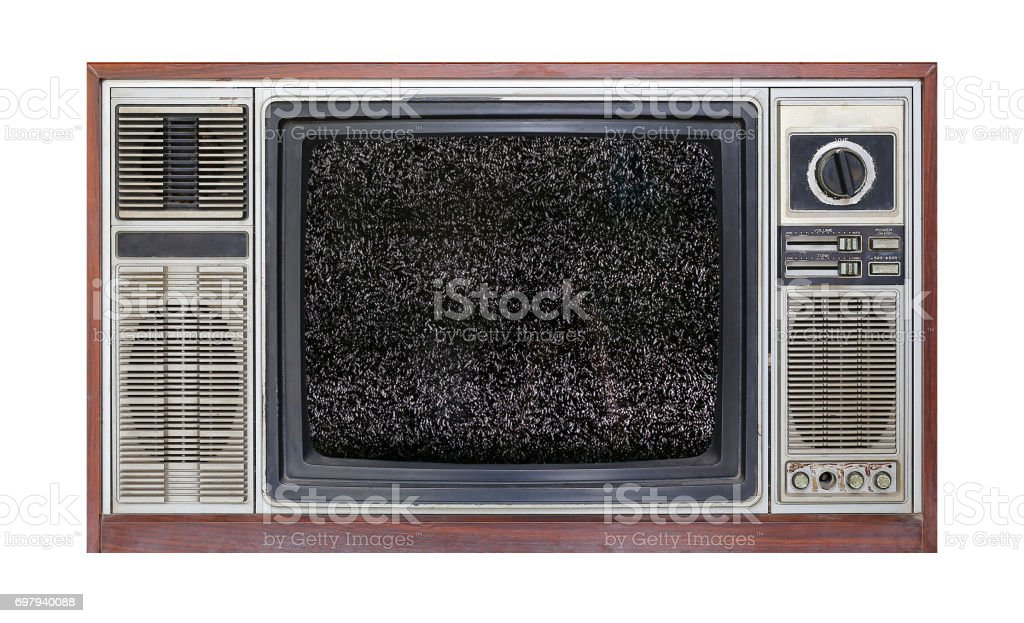 Retro television on white background with image of television grainy noise effect on screen. stock photo
