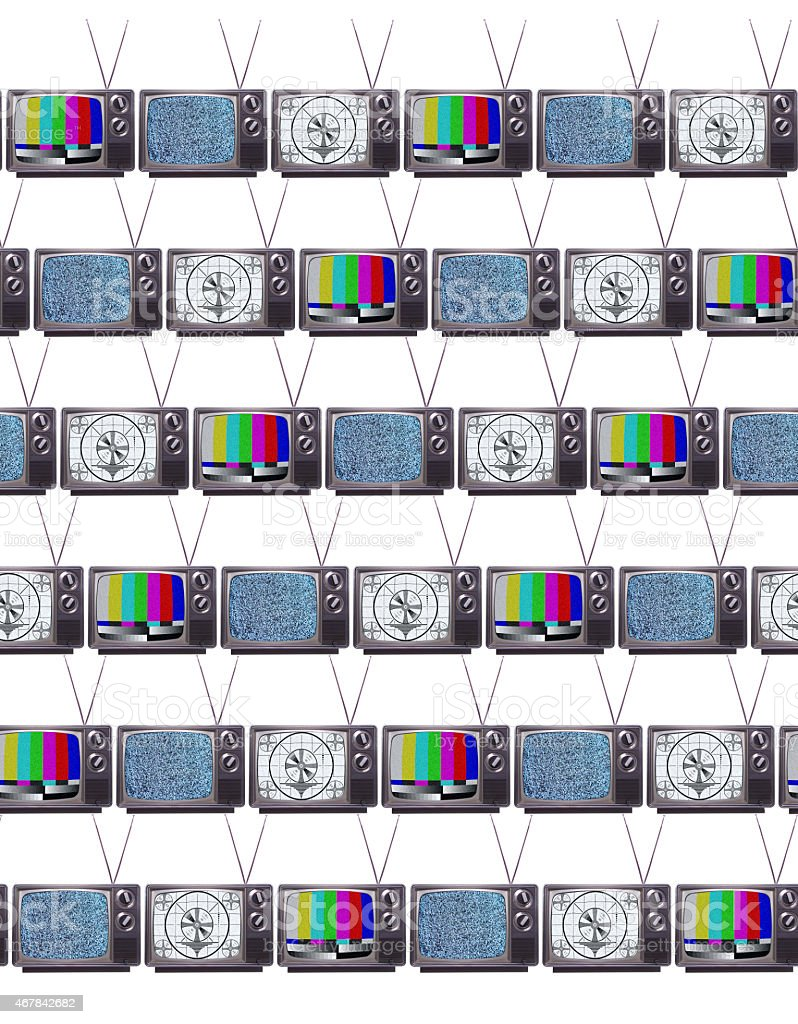 Retro Televisions with Test Patterns and static stock photo